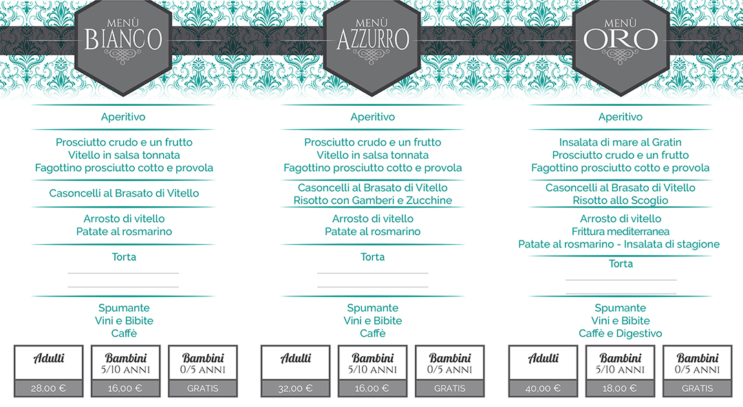 Cerimonie (2019) __3-MENU__ (Volantino) __RISTORANTE LAGO AZZURRO__